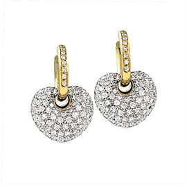 Leo Pizzo Diamond Heart Charm Earrings in 18K Yellow & White Gold