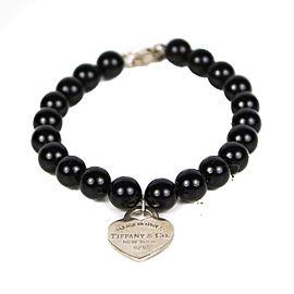 Tiffany & Co. 925 Sterling Silver & Black Beads Heart Charm Bracelet