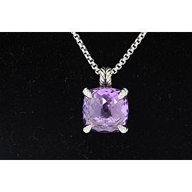 David Yurman Chatelaine Sterling Silver Amethyst, Diamond Pendant