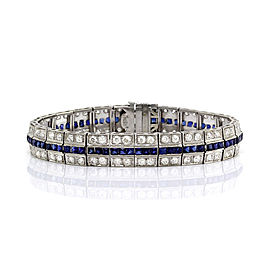 Synthetic Sapphire and European Diamond Bracelet in Platinum | FJ