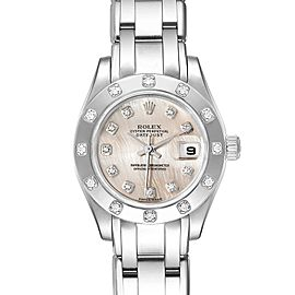 Rolex Pearlmaster White Gold MOP Dial Diamond Ladies Watch 80319
