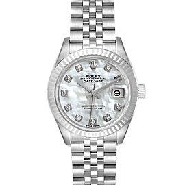 Rolex Datejust 28 Steel White Gold MOP Diamond Ladies Watch 279174