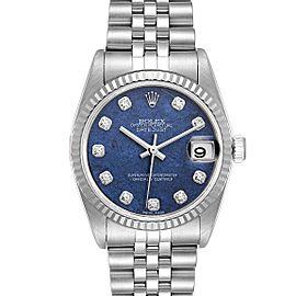 Rolex Datejust Midsize Steel White Gold Sodalite Diamond Dial Watch 78274