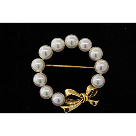 Mikimoto 18K Yellow Gold Cultured Pearl Brooch