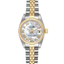 Rolex Datejust Steel Yellow Gold MOP Roman Dial Watch 79173