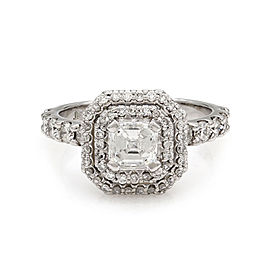 Square Emerald Cut Diamond in Halo Engagement Ring in 18K White Gold | FJ