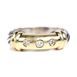David Yurman Metro Sterling Silver Yellow Gold Diamond Ring Size 5