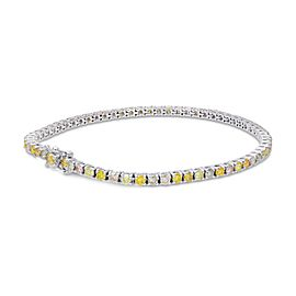 Leibish 18K White Gold Mix Color Round Brilliant Tennis Bracelet