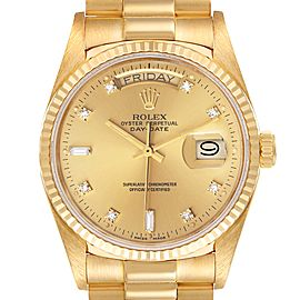 Rolex President Day-Date 18k Yellow Gold Diamond Mens Watch 18038