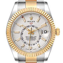 Rolex Sky Dweller Yellow Gold Steel White Dial Mens Watch 326933 Unworn
