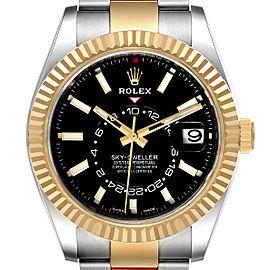 Rolex Sky Dweller Yellow Gold Steel Black Dial Mens Watch 326933 Unworn