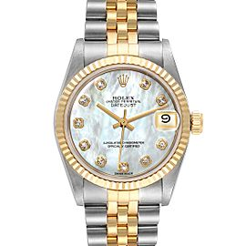 Rolex Datejust Midsize Steel Yellow Gold MOP Diamond Watch 68273