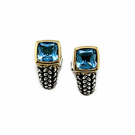 Lorenzo Blue Topaz Earrings in Silver and Gold