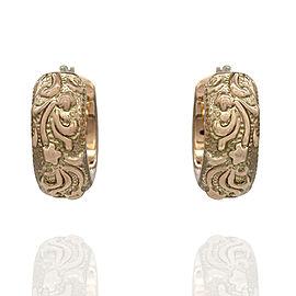 Foliate Motif Hoops Earrings in Gold
