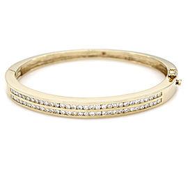 2 Row Diamond Bangle Bracelet in Gold