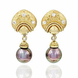 Pearl and Diamond Drop Earrings in Gold