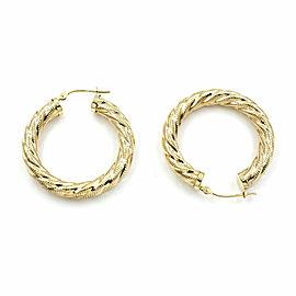 Textured Hoop Earrings in Gold