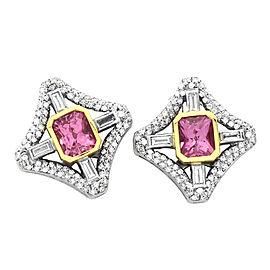 Pink Sapphire & Diamond Earrings in 18K Gold
