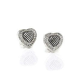 Yurman Diamond Heart Earrings in Silver
