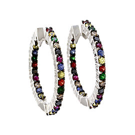 Norman Covan Multi-Color Sapphire and Color Diamond Hoop Earrings in Gold