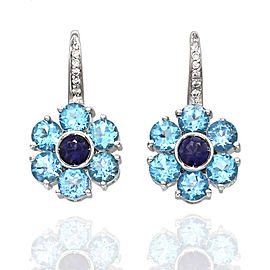 Pasquale Bruni Blue Topaz, Iolite and Diamond Earrings in Gold