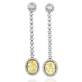 Fancy Yellow Diamond and White Diamond Drop Earrings in Gold