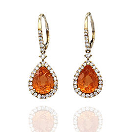 Mandarin Garnet and Diamond Earrings in Gold
