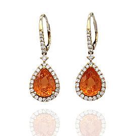 Mandarin Garnet and Diamond Earrings in Gold