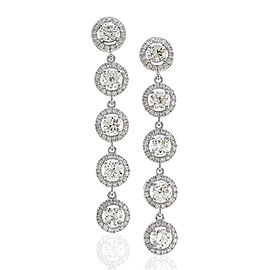 Diamond Halo Drop Earrings in Gold