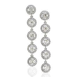 Diamond Halo Drop Earrings in Gold