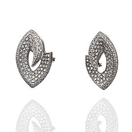 18kw Pave Diamond Marquise Style Earrings