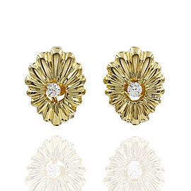 Fluted Diamond Earrings in Gold
