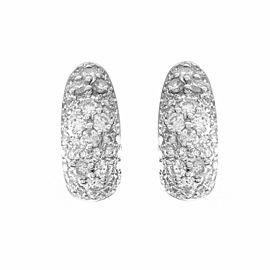 Diamond Pave Semi Hoop Earrings in Gold
