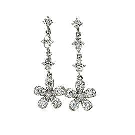 Diamond Flower Drop Earrings in Gold
