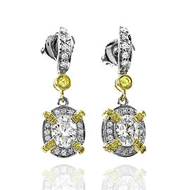 Charles Krypell Diamond Drop Earrings in Platinum and Gold
