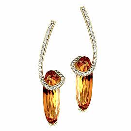 Fancy Elongated Citrine & Pave Diamond Earrings in 14K Yellow Gold
