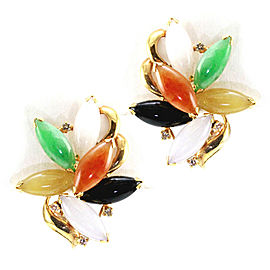 Multi-Color Jade Cabochon and Diamond Earrings in Gold
