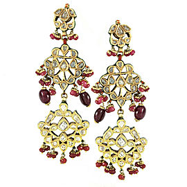 East Indian Wedding Earrings with Diamond, Ruby and Enamel in Gold with Plate