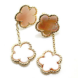 Pink Mother of Pearl Clover Drop Earrings with Rope Details in 14K Yellow Gold