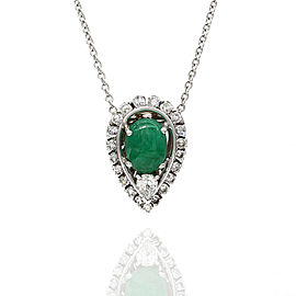 Emerald and Diamond Halo Gold Necklace