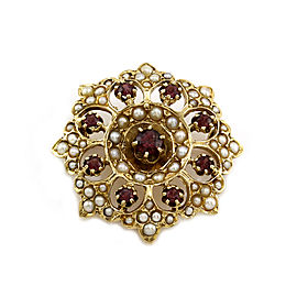 Edwardian Garnet and Seed Pearl Brooch in Gold