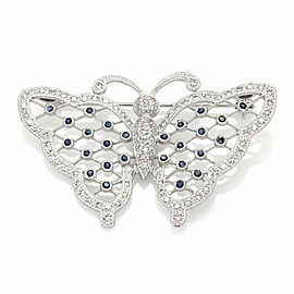 Diamond and Sapphire Butterfly Brooch in Gold