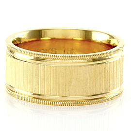 Gentlemen's Satin Finished Wedding Ring with Milgrain Details in 18K Yellow Gold