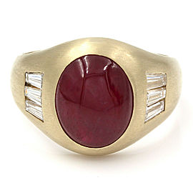 Gentlemans Ruby and Diamond Ring in Gold