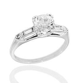 Round and Baguette Diamond Ring in Platinum
