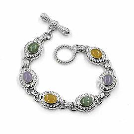 JUDITH RIPKA 925 Sterling Silver Lavender Yellow Green Jade Bracelet