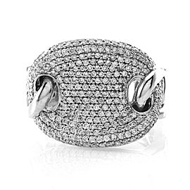 Pave Diamond Cluster Ring with Curb Link Details in 14K White Gold