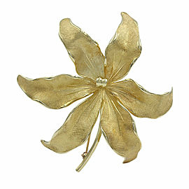 Tiffany Flower Brooch Pin in Gold