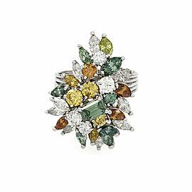 Multi-Color Diamond Cluster Ring in Platinum