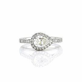 0.86ct Pear Cut Diamond Halo Engagement Ring in 18K White Gold